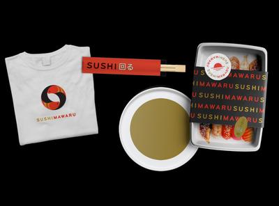 Sushi Mawaru branding design branding logo vector illustration