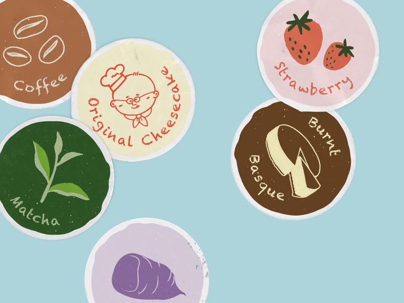 Uncle Tetsu flavor stickers vector design matcha cake strawberry sticker illustration icon