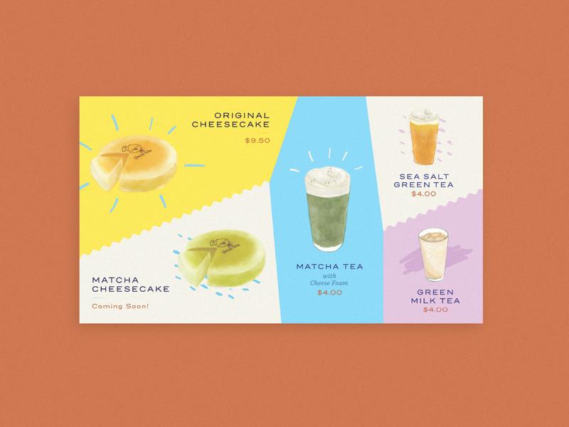 Uncle Tetsu menu board drinks cake menu branding design illustration