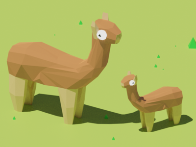 Llamas! design concept pastel simple low poly alpaca llama animal blender 3d