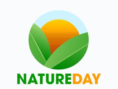 Natureday typography design illustration leaf sun happy