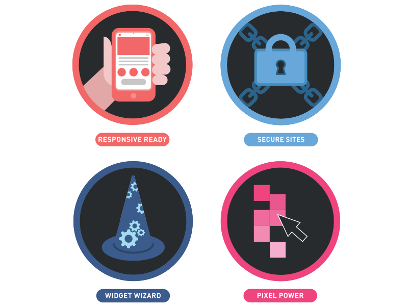 Merit Badges 1 mouse pointer lock pixel wizard phone hand tech colorful icons badges illustration