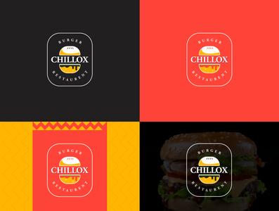 CHILLOX Burger Restaurent logo bold modern cool logodesign restaurent burger design logo