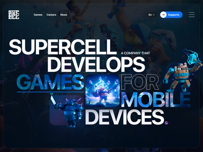 Concept main screen Supercell gamedesign game typogaphy design website web uiux ux ui webdesign
