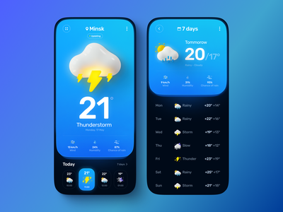 Weather App screen gradient illustration 3d weather icon weather app weather sun rain mobile design app design uiux ui ux app mobile app mobile app design mobile ui mobile