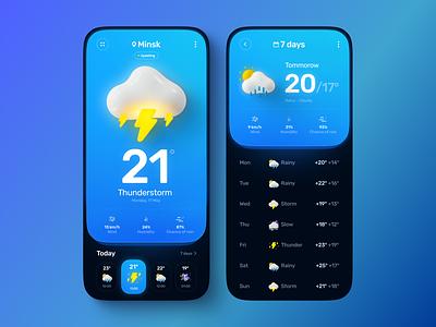 Weather App screen gradient illustration 3d weather icon weather app weather sun rain mobile design app design uiux ui ux app mobile app mobile app design mobile ui mobile