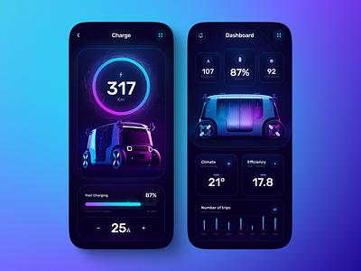 Electric Car App zoox gradient app design app ux uiux ui mobile ui dark mode charger electric car electric battery mobile apps mobile app design mobile design mobile app mobile