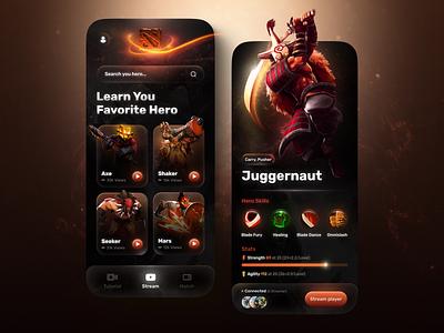 Streaming App dark stream streaming dota 2 dota gameapp games game app game logo illustration design mobile app design app design uiux ui ux mobile app mobile