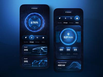 Electric car charger app concept car 3d glassmorphism neon dark mode car app charger electric car electric charge illustration design mobile app design app design uiux ui mobile app ux mobile