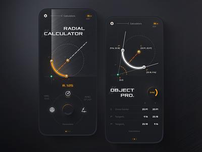 Calculator app game games dark theme radial circle dark iu calculator illustration design mobile app design mobile app design uiux ui mobile app ux