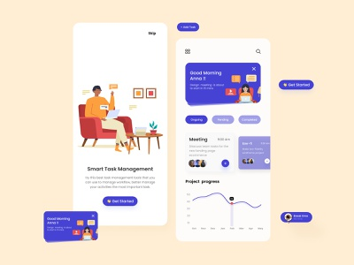 Task Management Mobile app-UX/UI Design tranding colors soft colors task list figma minimal concept clean design 2021 creative mobile ui smartwebtech web design uiuxdesign mobile illustraion popular design task management app