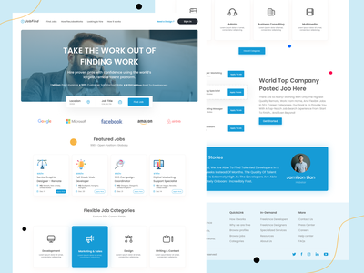 JobFind Landing Page marketplace find most landing page design web job search design smartwebtech website design find job websites userinterface website web design clean minimal layout ui design header landingpage