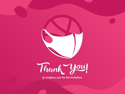 Thank You dribbble mask invitation thank you