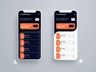 Dark Mode   Light Mode vector icon enroll ielts dashboard ui light ui dark ui dashboard ui minimal design app band score