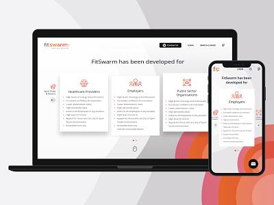 FitSwarm Benefits Screen user list uiuxdesigner users landing page contact us login website concept website design