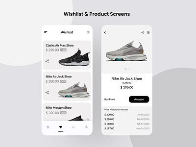 Wishlist – Amazon Wishlist Price Tracker App amazon price tracker uiux design visual design app design ecommerce app shoes