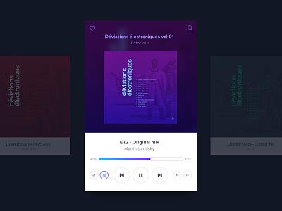 Daily UI 009 - Music Player minimal card player music purple blue daily ui dailyui
