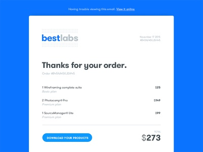 Daily UI 017 - Email Receipt grey blue order receipt email daily ui dailyui
