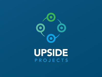 Upside Projects rebranding + website green blue website branding identity logo