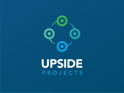 Upside Projects rebranding + website green blue website branding identity logo