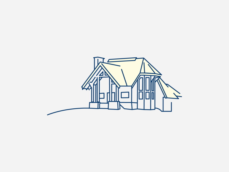 House on a hill vector drawing illustration