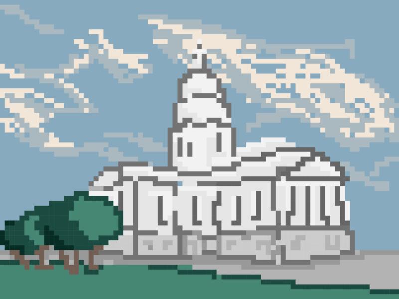 Capitol Hill pixel art illustration