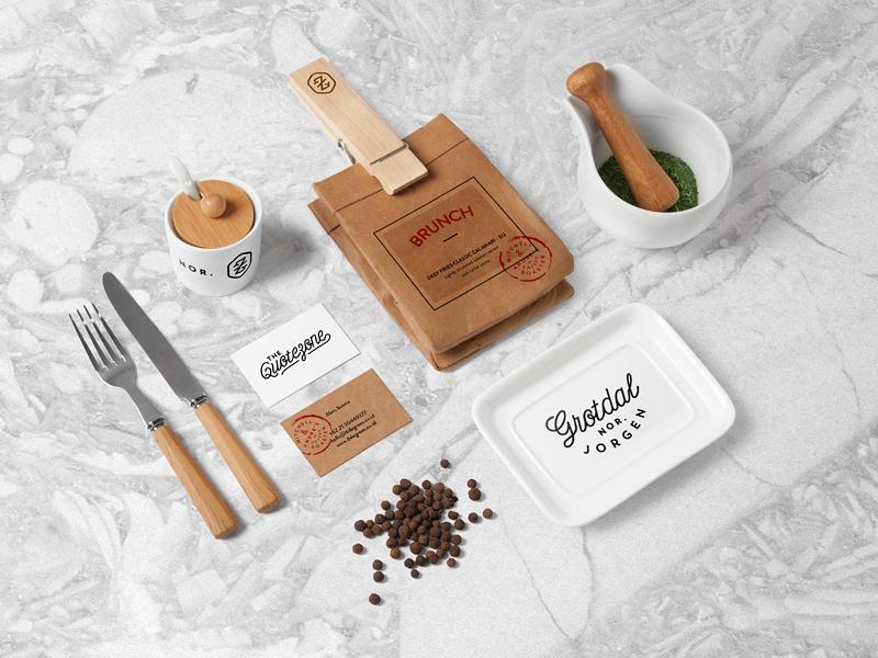 Restaurant Food Branding Mock Up logo template brand mockup psd hipster bar craft vintage minimalist kitchen free