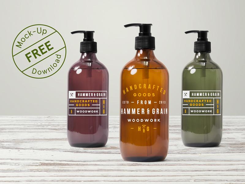 Free Dispenser Bottle Mockup packaging freebie free minimalist vintage craft hipster psd mockups template logo