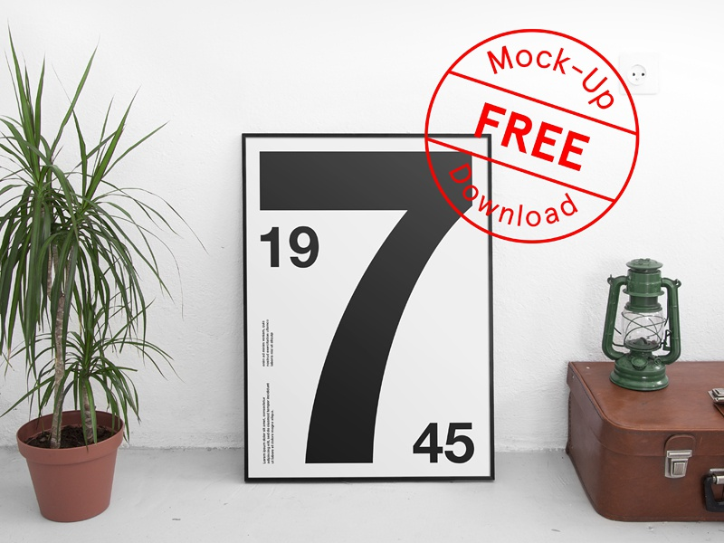 Free Poster Psd Mockup icon font typography branding frame art illustration logo resource template download freebie