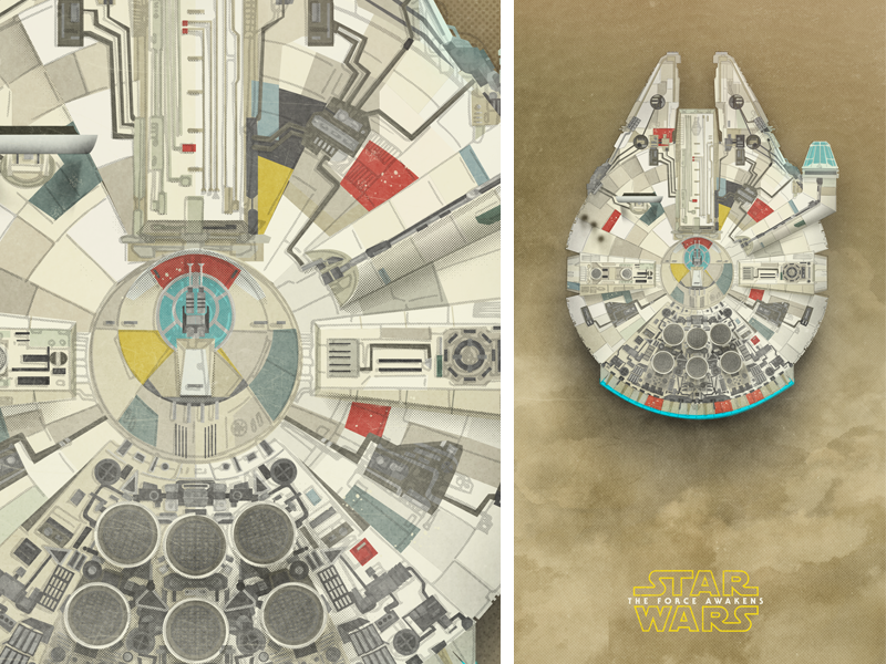 Millennium Falcon VII out of retirement boobies spaceship poster print millennium falcon star wars