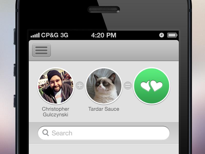 Its A Match christopher paul ios tinder tardar sauce grumpy cat iphone menu search boobies