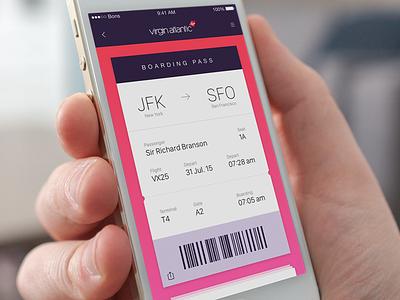 Boarding Pass airline ios ui app flight boarding pass boarding virgin