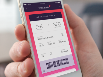 Boarding Pass airline ios ui app flight boarding pass boarding virgin
