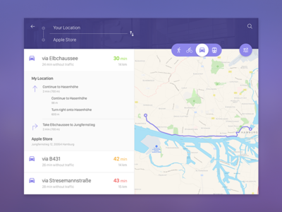 Map Directions map directions material design switch fluid animation transit ui ux