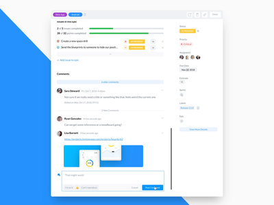 Produck: Task Details calendar assignees modal attachments web application document builder inline rich text rich text produck productivity epic comments task modal project management tool project management ux task details task app task management task