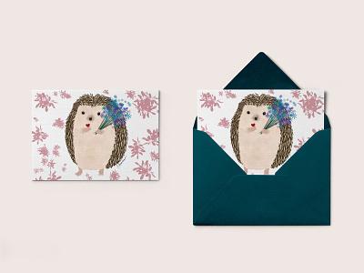 Mother's Day card hedgehog illustration design illustration character conceptual design card postcard