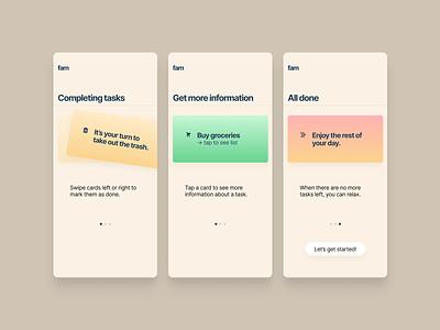 Fam: Family management app ui design minimal branding typography