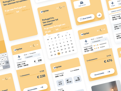 Emprise — Concept Travel App interaction travel ux yellow app design ui flat app design vector typography icon branding minimal logo
