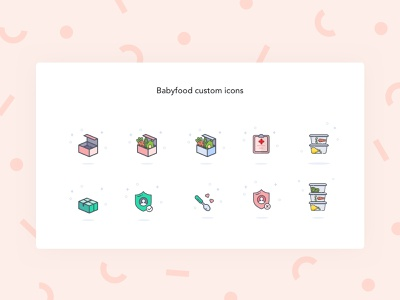 Babyfood Custom Icons for iOS App fresh baby kids pastel playful colorful icons illustration minimal design ios iphone mobile uidesign uxdesign
