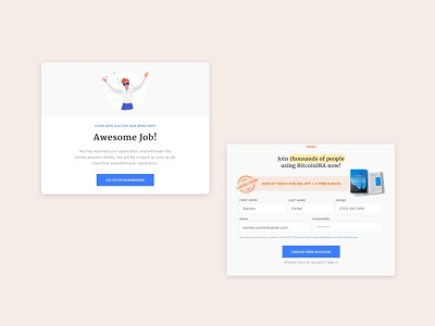 UI - Modals for Cryptocurrency Investing App congratulations register login webdesigning dialog modal box ui design webdesigner webdesign mobile uxdesign