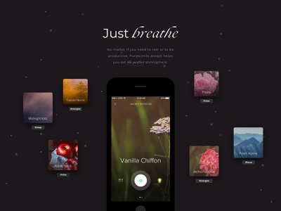 Home Scents - App for Smart Fragrance Dispenser flowers minimal iot development smarthome iot scents app uidesign uxdesign mobile