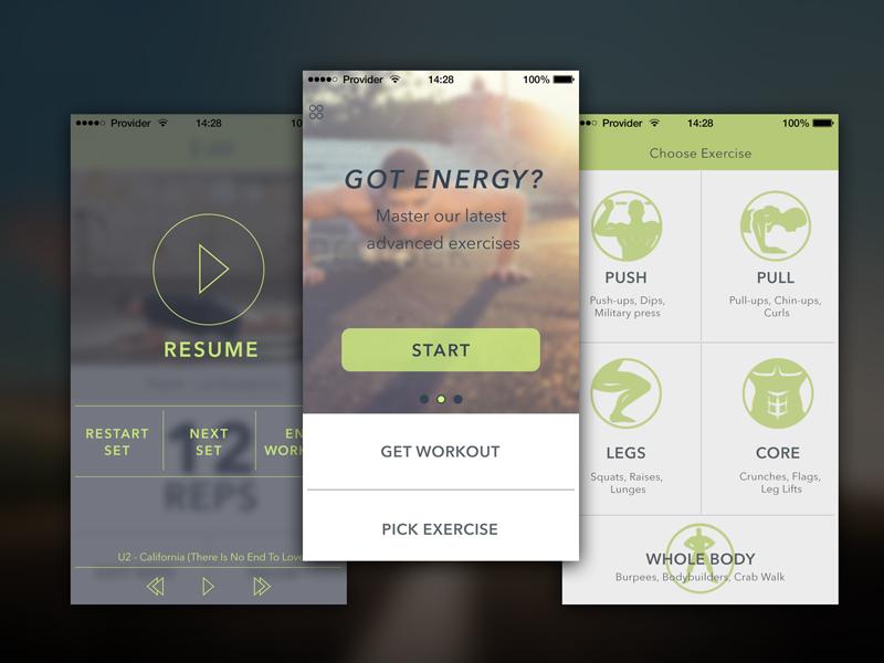 Fitness app design - Bodyweight Training app uxdesign uidesign iphone6 ios8 ios iphone mobile gym training