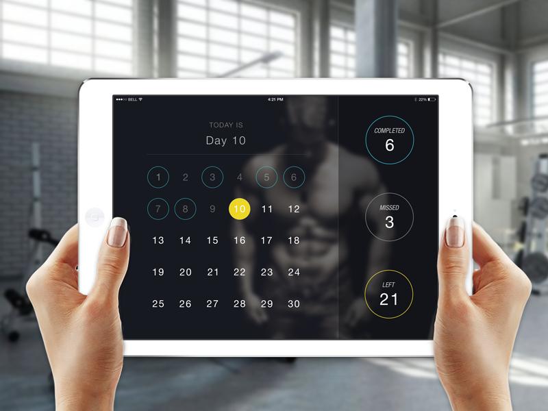 30day Pushup Challenge App - dark theme app uxdesign uidesign iphone6 ios8 ios iphone mobile gym training