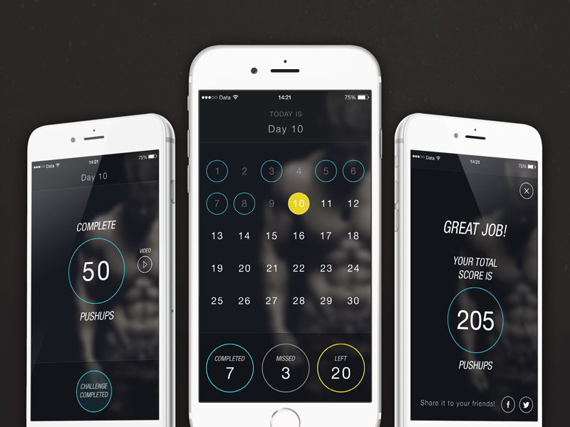 30day Pushup Challenge App - dark theme final sport sportapp sports app uxdesign uidesign iphone6 ios8 ios mobile gym training
