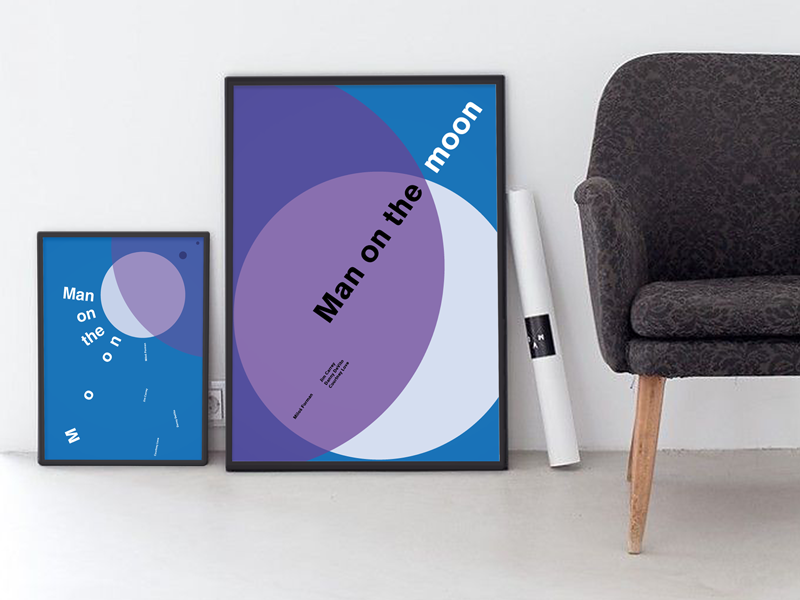 Geometric movie posters - Man on the Moon poster movie print swissposter helvetica akzidenz minimal swiss typographic minimalistic graphicdesign geometric