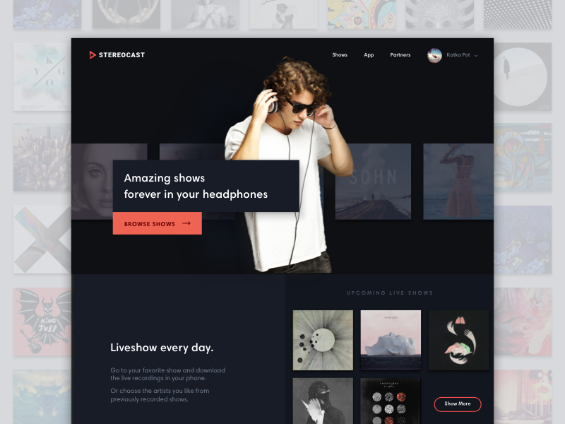 StereoCast Homepage website minimal dark player music streaming liveshow concert strv playing katkapot