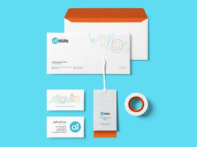 Stationery design business card tag envelope laundry branding logo