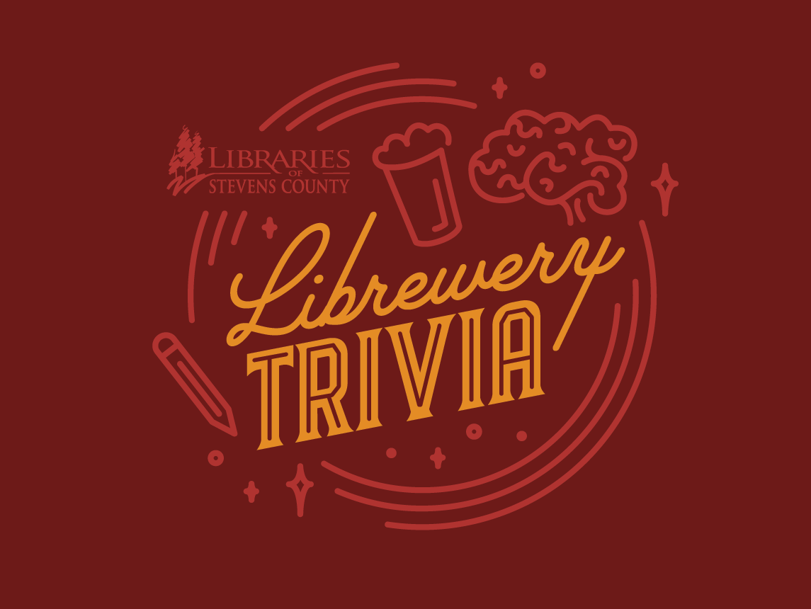 Librewery Trivia Logo monoline branding illustration gold red pencil beer brain library logo brewery trivia