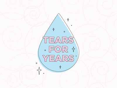 Tears For Years designs flat illustration art flat modern mid century mcm retro mod sparkle cry often cry tears
