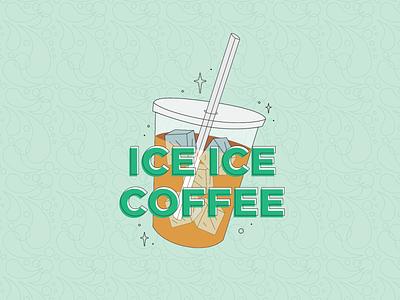 Ice Ice Coffee summer pattern sparkles green flat flat illustration illustration vanilla ice iced coffee seattle coffee